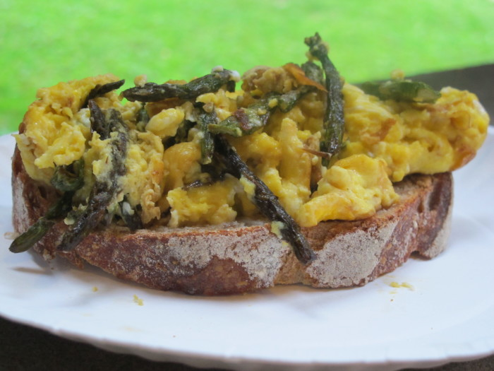 roasted asparagus and scrambled eggs