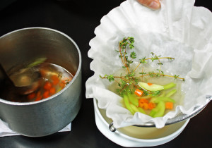 Broth in coffee filter