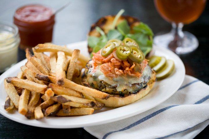 The Farmhouse Tap Amp Grill S Veggie Burger Food Republic