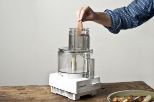 feed bread into food processor