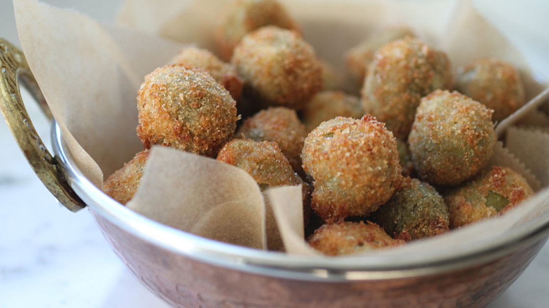 deep fryer Spicy Cheese-Stuffed Fried Olives
