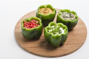 Make the green pepper dip bowls