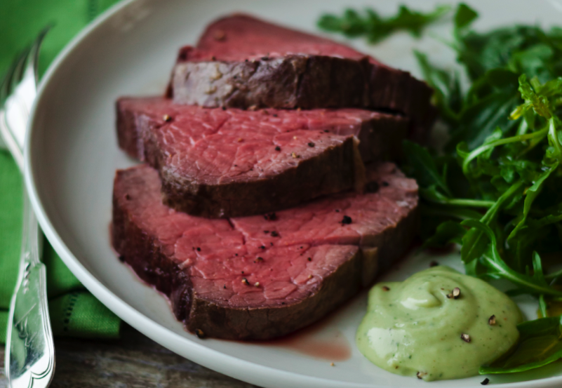 Beef Fillet With Basil Mayonnaise Recipe
