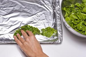 Spread the kale on a baking sheet