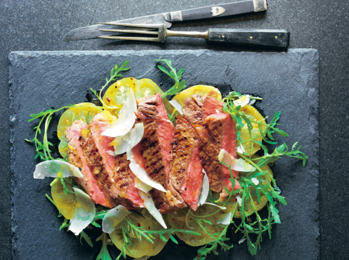 High Steaks! Tagliata With Green Tomatoes, Oregano And Mustard Recipe
