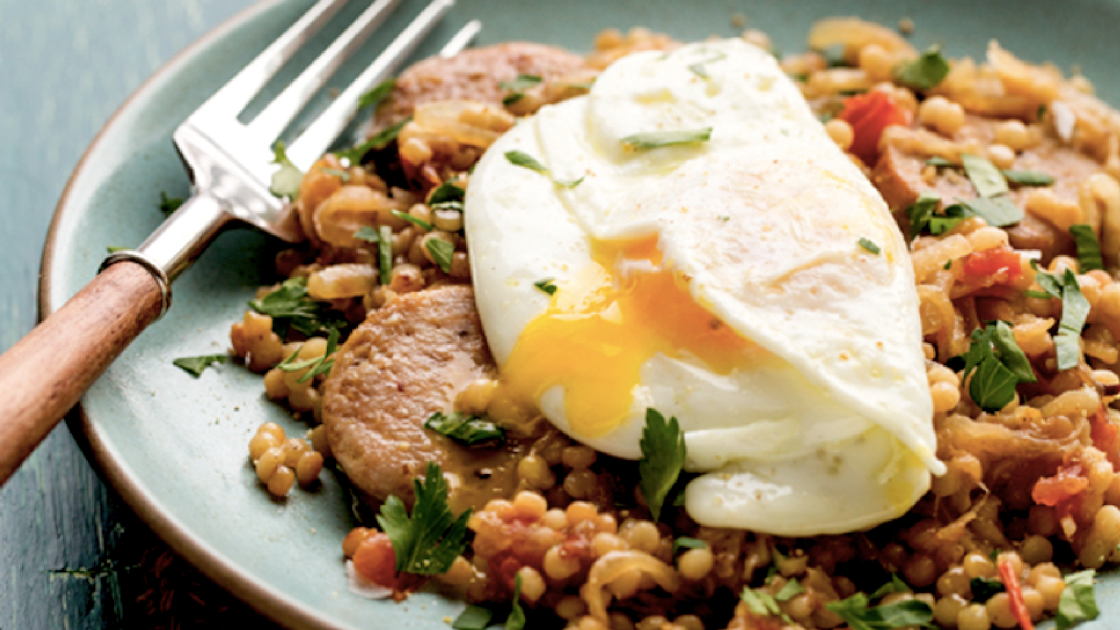 20 recipes for spring chicken right this way food republic israeli couscous with chicken sausage and over easy eggs recipe forumfinder Gallery