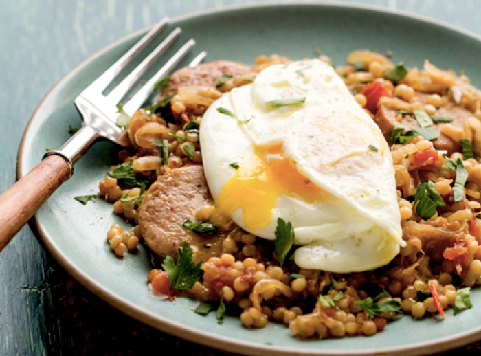 Israeli Couscous With Chicken Sausage And Over-Easy Eggs Recipe