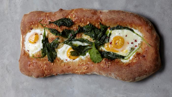 Mustard Greens, Cheddar And Farm Egg Breakfast Pizza Recipe