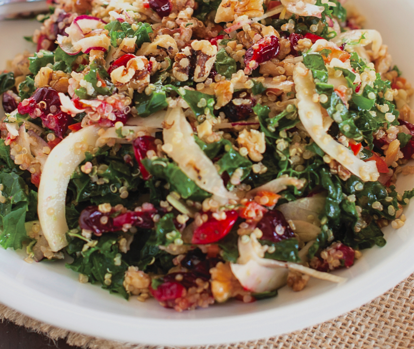 Roasted Garlic Kale & Quinoa Salad With Cranberries Recipe