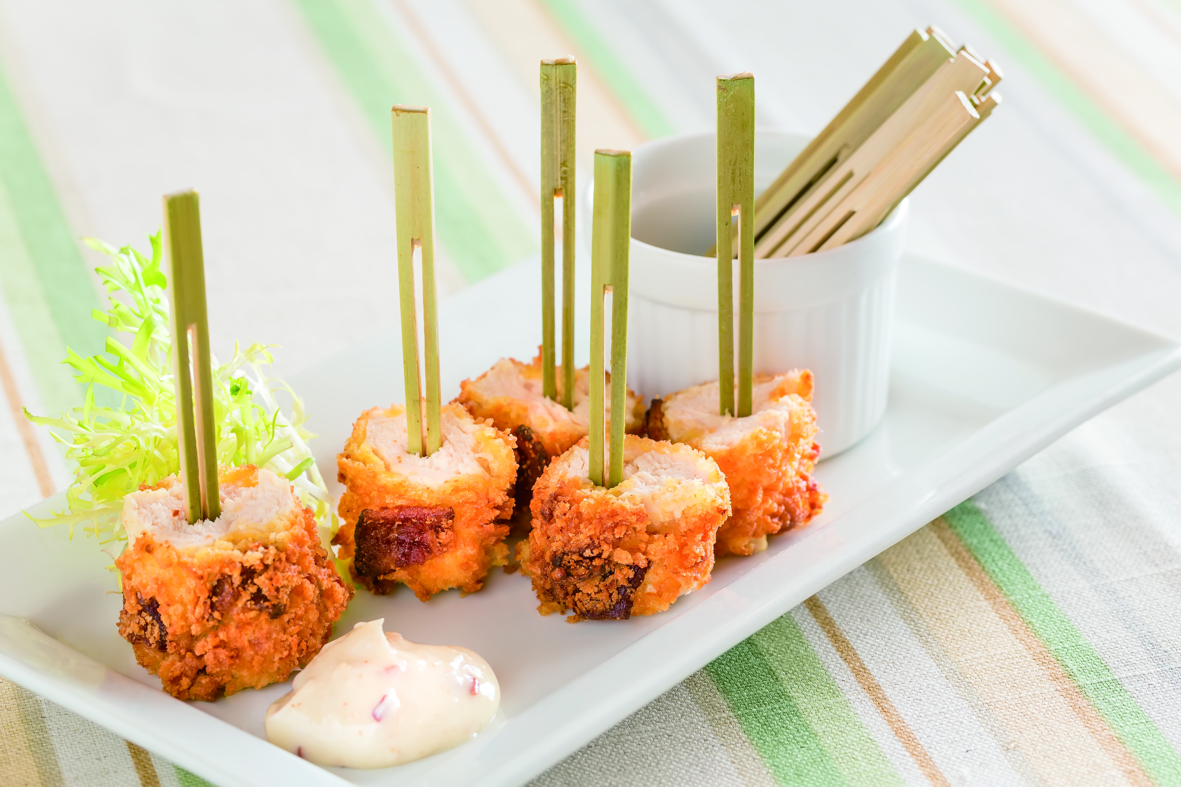 Mustard-And-Bacon-Crusted Chicken Bites With Bacon Aioli Recipe