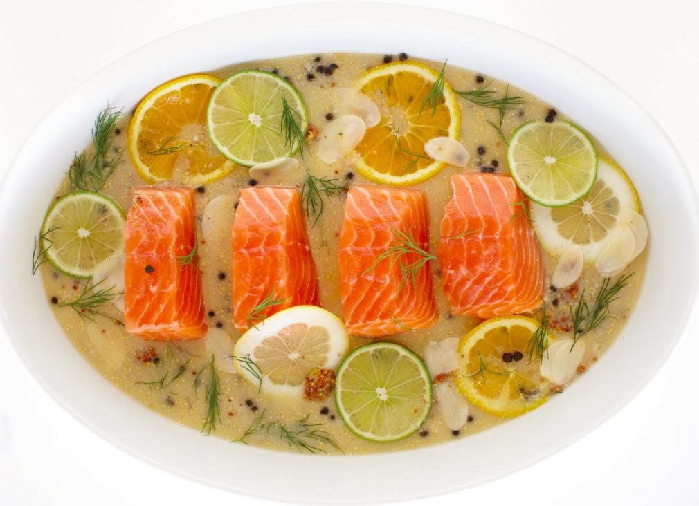 Citrus-Poached Salmon With Dijon Mustard Sauce Recipe