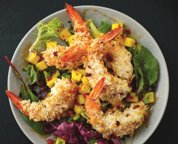 Coconut Shrimp Salad With Spicy Mango & Cilantro Salsa Recipe