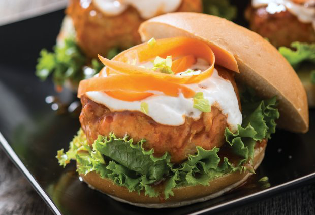 Savory buffalo chicken burgers will satisfy your craving for tangy heat while cutting out the extra fat.