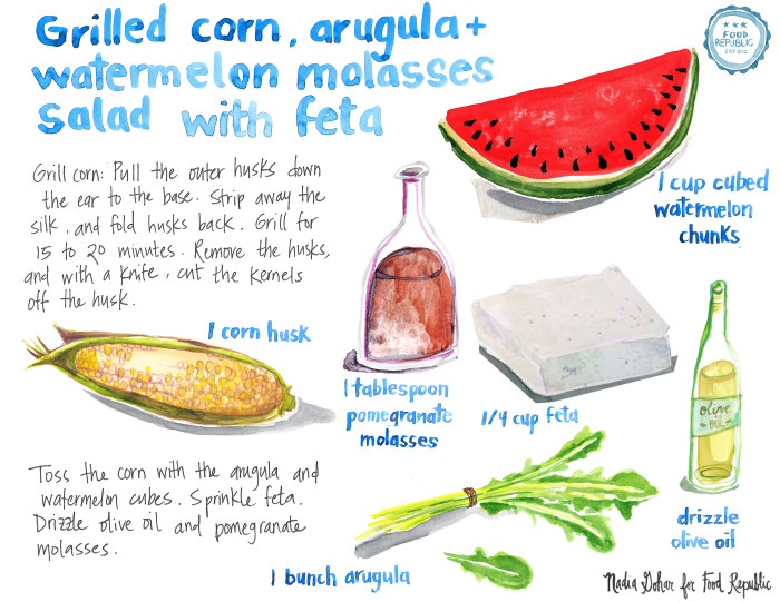 Illustrated Guide: Summer Grilled Corn Salad With Watermelon And Feta