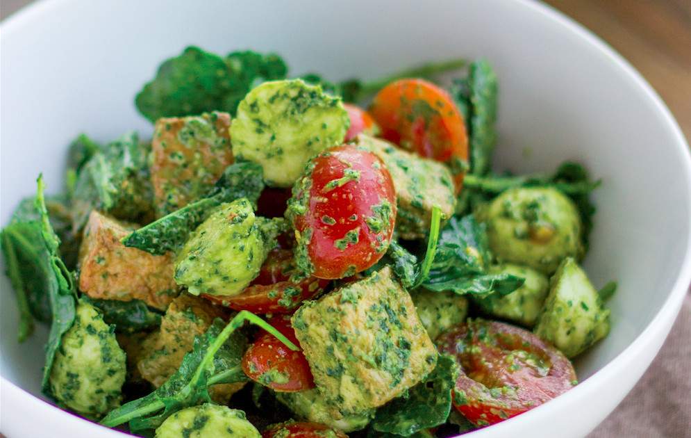 20 vegetarian appetizers to start your dinner on the light foot caprese pesto kale salad with crispy tofu recipe forumfinder Choice Image