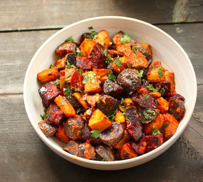 Roasted root vegetables with romesco sauce recipe food republic forumfinder Choice Image