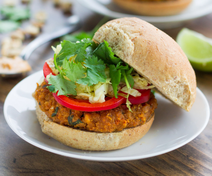 Instead of ordering takeout, whip up a batch of flavorful, healthy peanut veggie burgers at home.