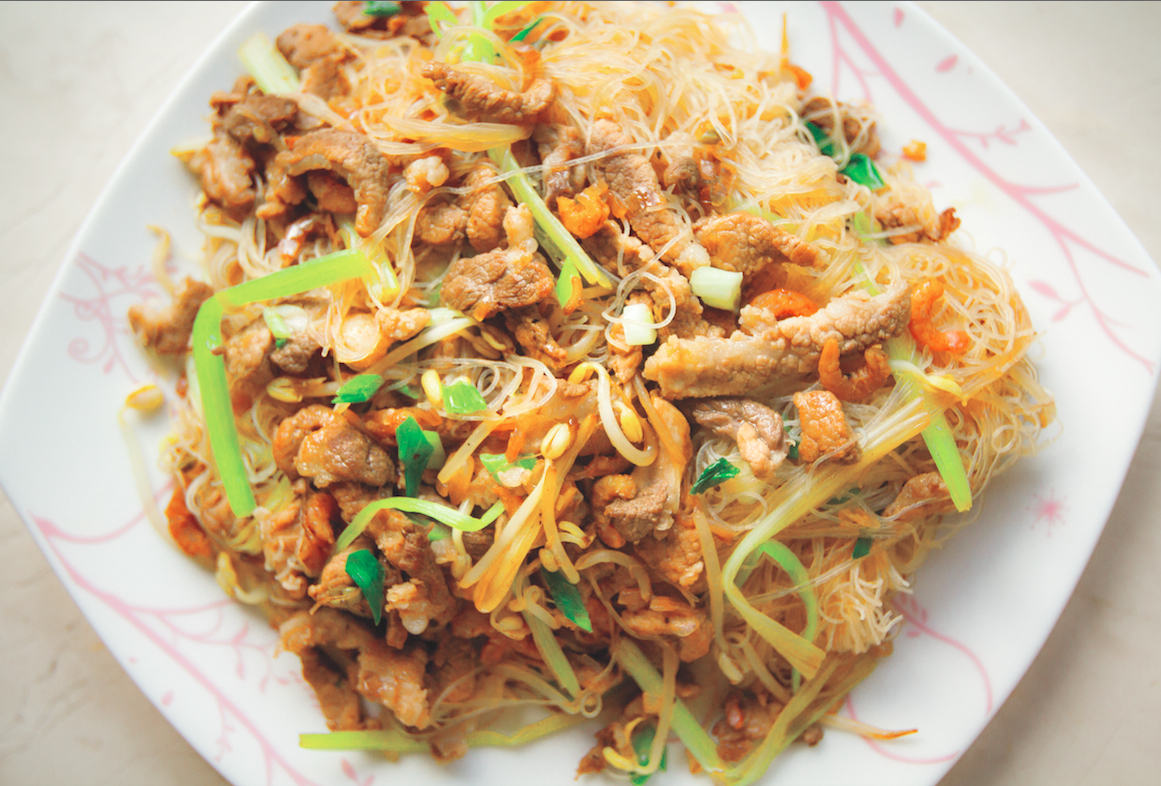 Taiwanese Pan Fried Rice Noodles With Pork And Vegetables