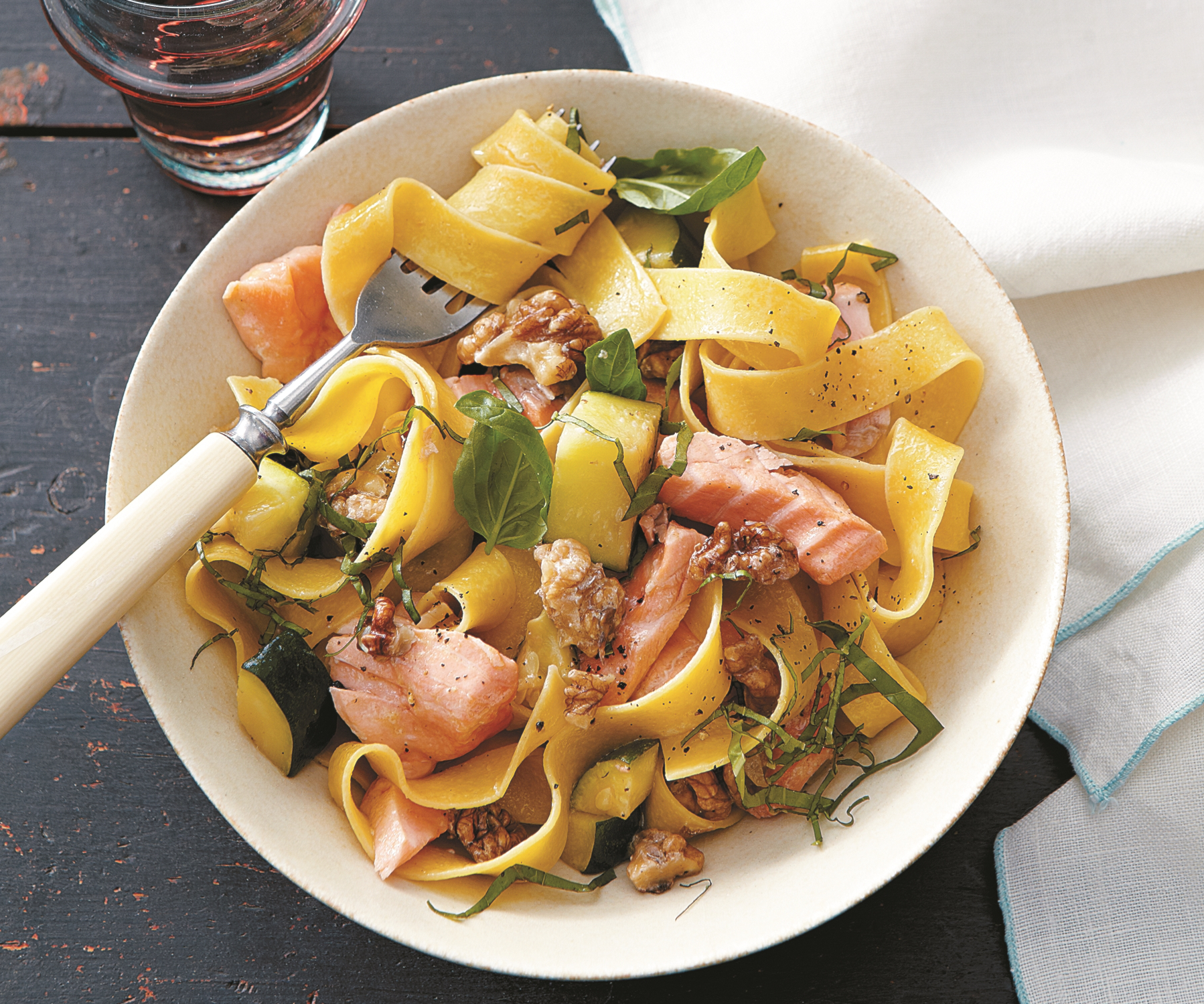 pappardelle with salmon zucchini and walnuts food republic