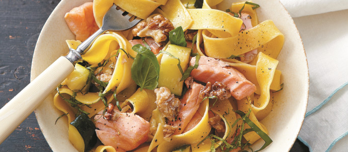 Healthy salmon, walnuts and zucchini pump up this pappardelle with flavor that tastes as great as it feels.