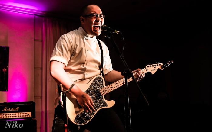 Chef Brian Tsao on guitar