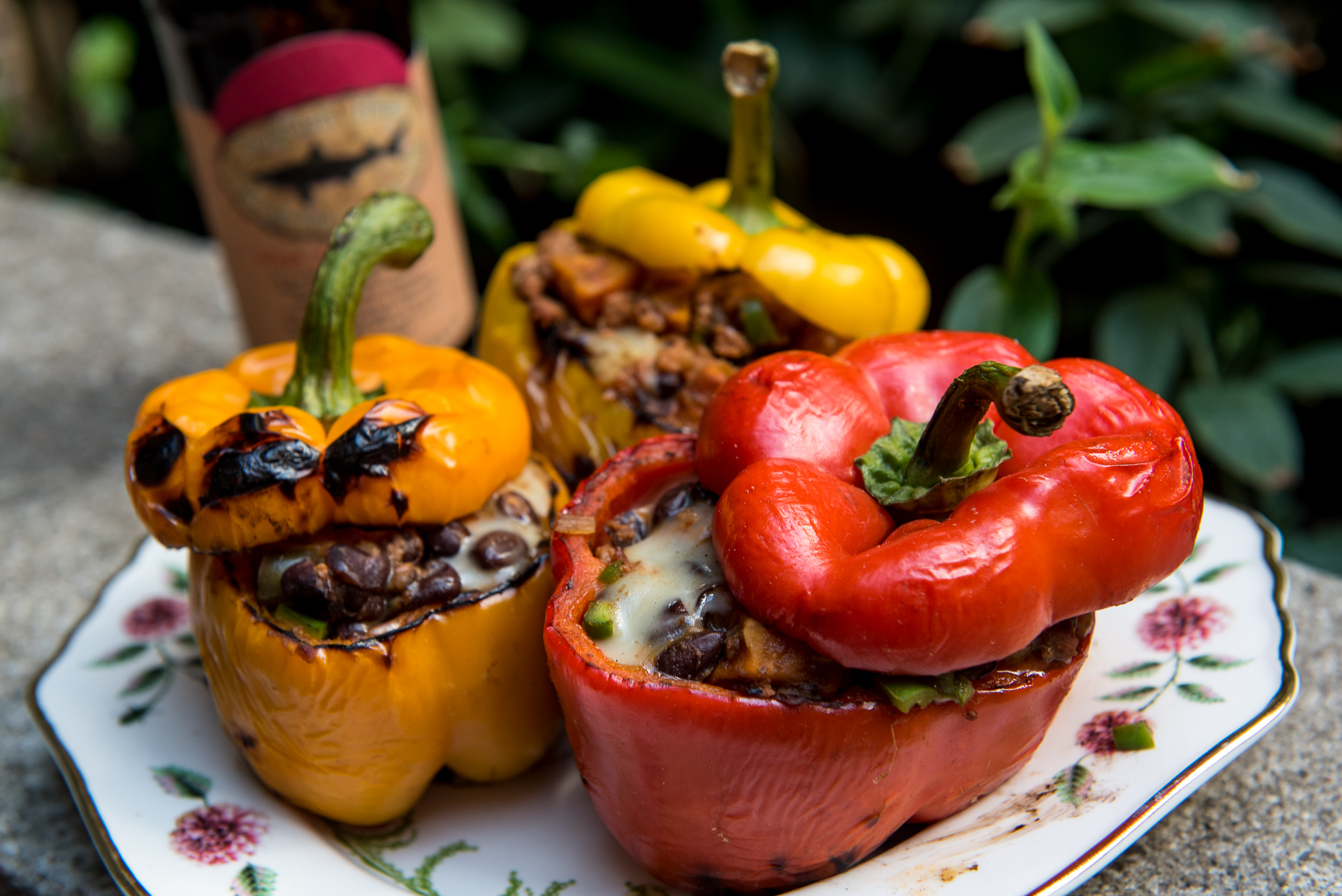 how to grill cut peppers