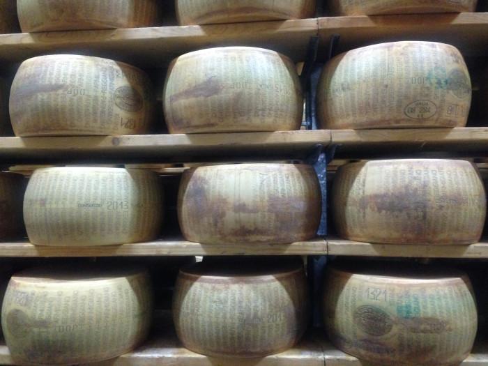 Parmigiano-Reggiano wheels aging (Photo: Jenny Miller)
