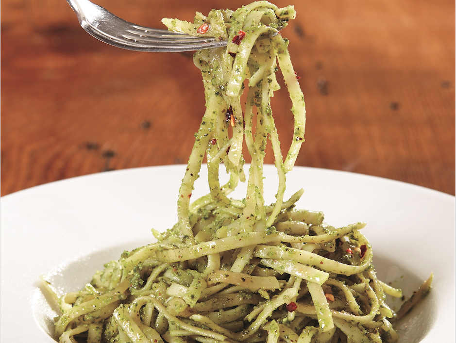 linguine with cilantro and chive pesto food republic