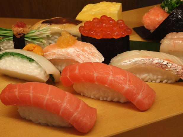 Real pieces of sushi or just plastic? (Photo: CBS.)