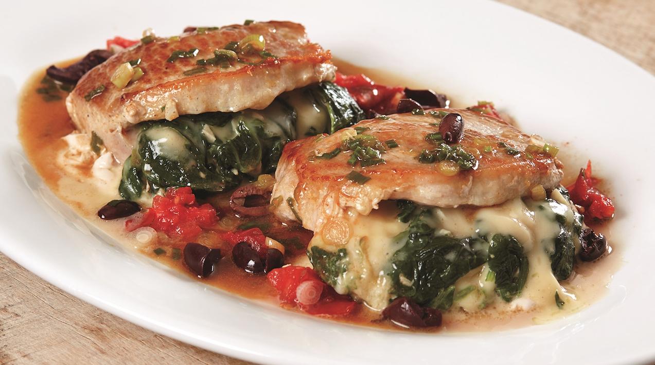 pork loin chop recipes stuffed At Pépin's Table: Spinach-Stuffed Pork Loin Chops