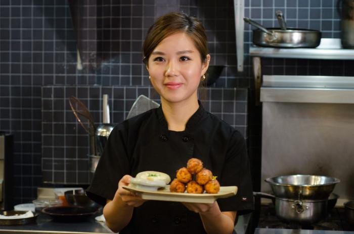 New York Chef Esther Choi pairs her Korean fishcakes with Loureiro. (Photo: Jenny Adams.)