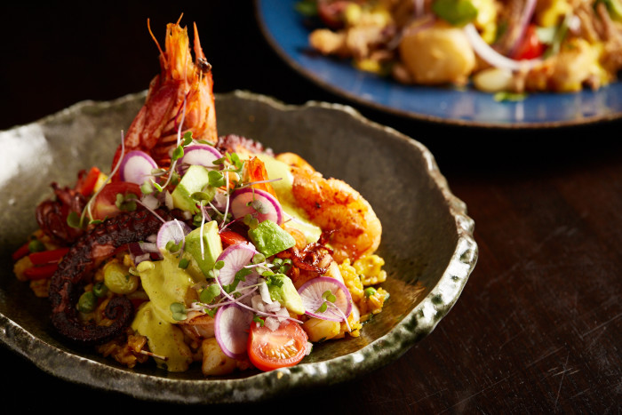 At Chicago's Tanta, Chinese and Spanish influences can be seen in this reinterpretation of arroz criollo. (Photos: Galdones Photography.)
