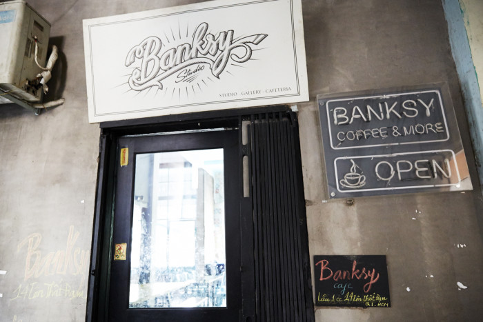 Banksy Studio Café is adorned with a wide mix of knickknacks.