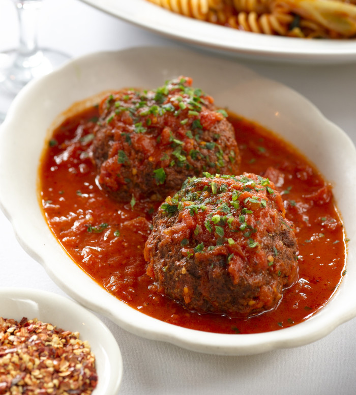 Frank Pellegrino's legendary meatballs are fluffy, and paired perfectly with a bright, tangy marinara. (Photo credit: Rao's Restaurant Group)