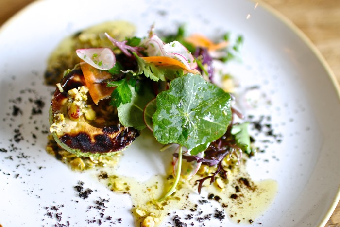 Kali's charred avocado salad with pistachio, ash and kale is not to be missed. (Photo: Rachel Jacobson.)