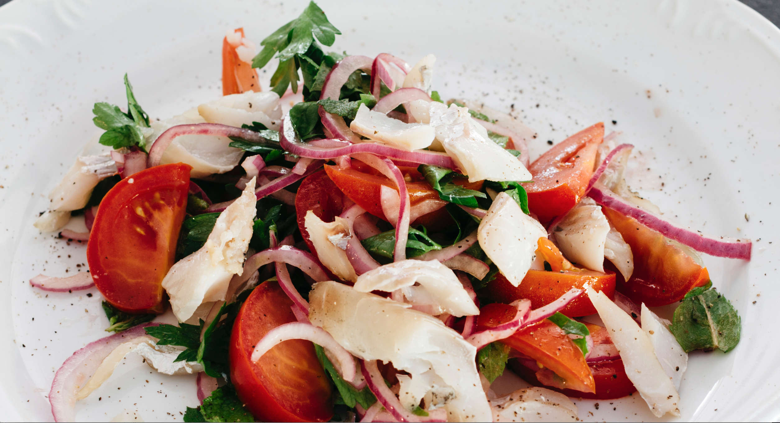 In Season: Tomato Salad With Poached Halibut - Food Republic