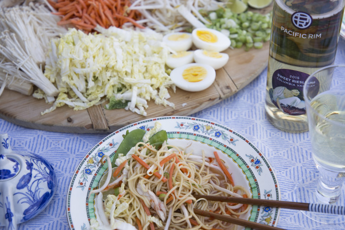 Slurp these noodles while you're sipping on reisling.