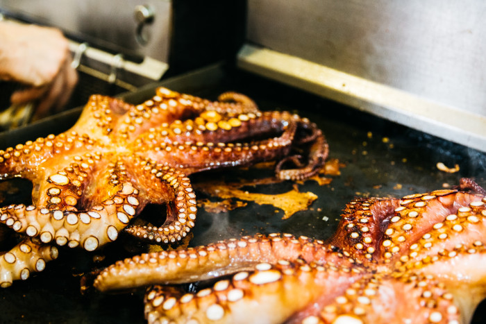 Whole grilled octopus at Mason Pacific. (Photo courtesy of Mason Pacific.)