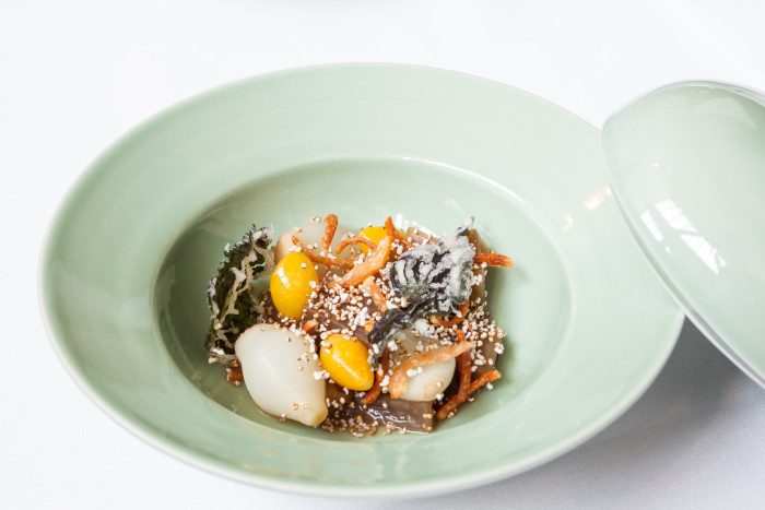 Acorn, abalone mushroom, ginko nut, amaranth seed, onion and bone marrow at Mosu. (Photo: Patricia Chang.)