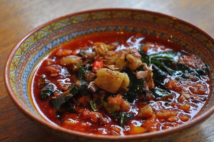 Half of this jungle curry is made with the spiciest chili used in Thai cuisine.