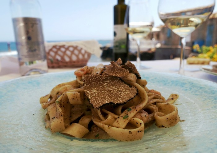 This tagliatelle and shrimp topped with shaved black truffle comes with a view.