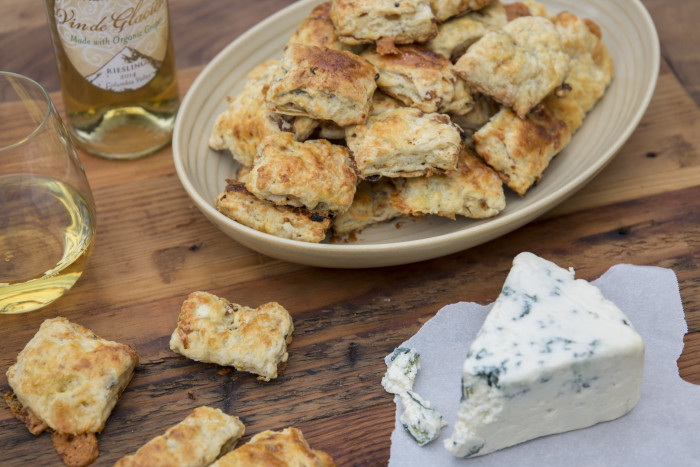 Pacific Rim's dessert wine pairs unexpectedly well with these savory biscuits. (Photo: Caroline Chambers.)