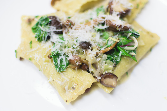 The pork dishes are delicious, but you shouldn't miss chef Mike Nowak's house made pastas, like this mushroom agnolotti. (Photo credit: The Black Pig)