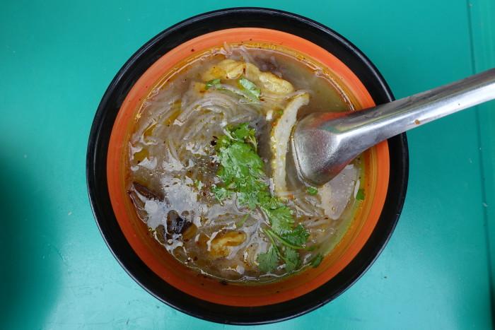 Myanmar's chicken noodle soup uses glass noodles.