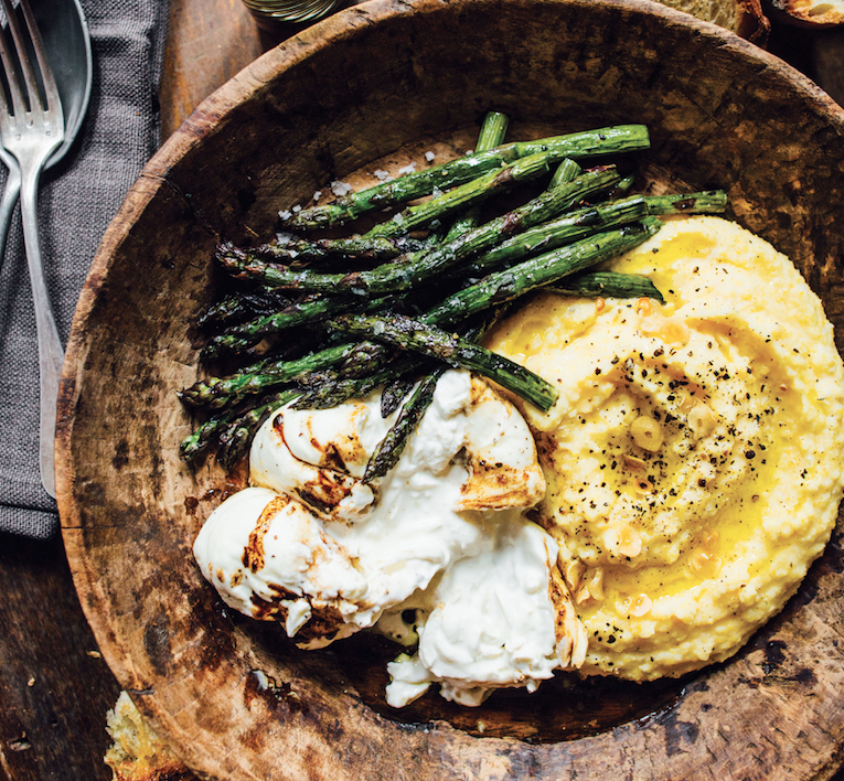 Asparagus Polenta With Creamy Burrata Is What 39 S For Dinner
