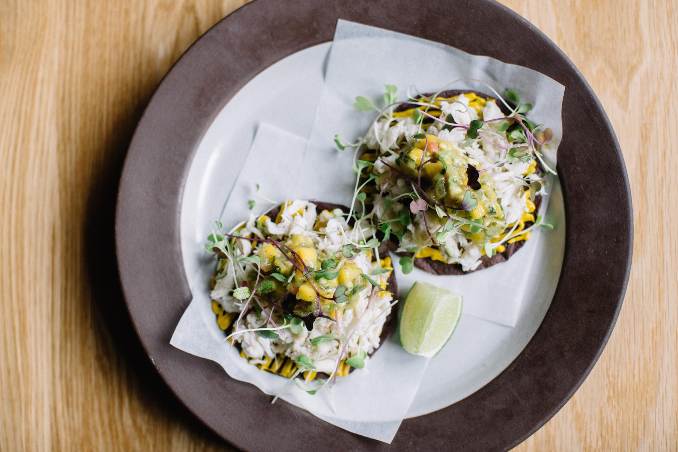 Crunch Into A Crab Tostada With Mango-Avocado Salsa